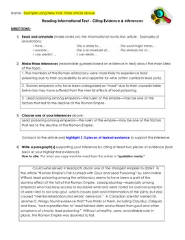 Common Core One Pager- Citing Evidence & Making Inferences in Informational Text