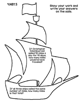 4th Grade Common Core Open Ended Columbus Day Math Assessment