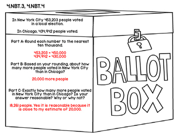 4th Grade Common Core Open Ended Election Day Math Assessment