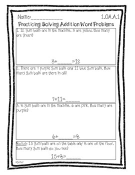 First Grade Math Common Core Center and Assessment Bundle Algebraic Thinking