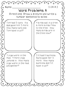 Common Core Operations and Algebraic Thinking Math Worksheets for First Grade