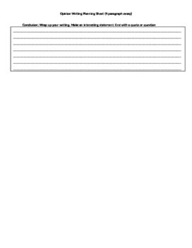 Common Core Opinion Planning Sheets