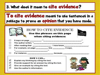 Common Core 3rd, 4th Grade Opinion, Traits, and Citing Evidence PPT