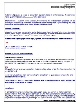 Common Core Opinion Writing Lesson Plan - Integrated with Reading Comprehension