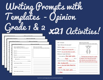 Common Core Writing Prompts with Templates  - Opinion