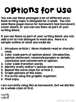 Common Core Opinion Writing -Using articles and mentor texts
