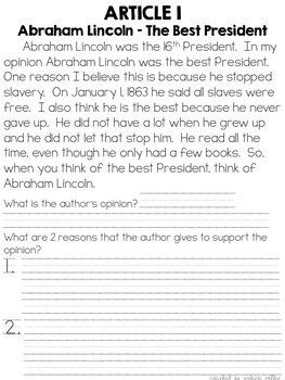 Common Core Opinion, Informative, and Narrative Writing - February