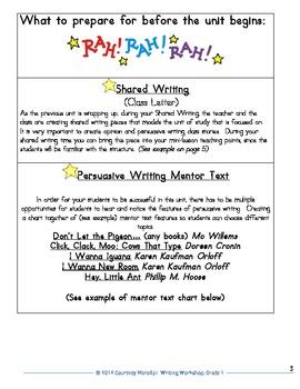 Common Core Opinion and Persuasive Writing- 1st Grade Unit