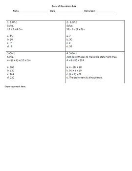 Common Core Order of Operations Quick Quiz