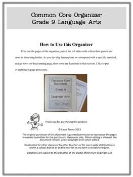 Common Core Organizer and Planner- Ninth Grade ELA
