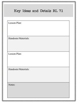 Common Core Organizer and Planner - Seventh Grade ELA