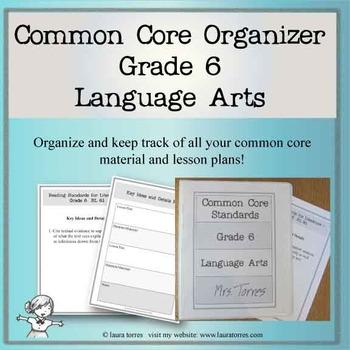 Common Core Organizer and Planner - Sixth Grade ELA