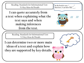 Common Core Owls - I Can Posters Grade 5
