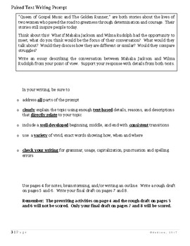 Common Core/PARCC Writing Prompt:  Mahalia Jackson and Wilma Rudolph