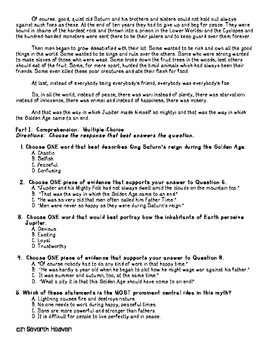 Common-Core, PARCC-like Reading Comprehension Test 2 - The Golden Age