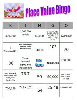 Place Value Review Test Prep Jeopardy Common Core