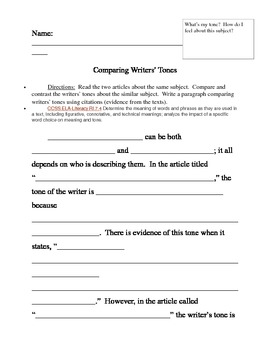 Common Core Paragraph Template - Comparing Writers' Tones