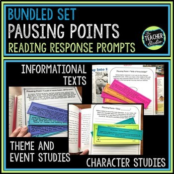 """Common Core """"Pausing Points"""" Response to Reading Prompts: Bundled Set"""