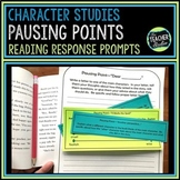 "Common Core ""Pausing Points"" Response to Reading Prompts:  Character Studies"
