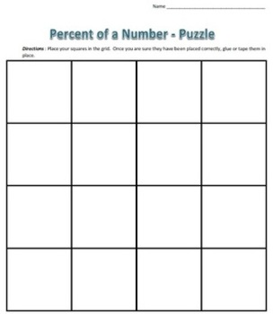 Common Core - Percent of a Number Puzzle - Math Fun