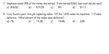 Common Core - Percent of a Quantity Quiz