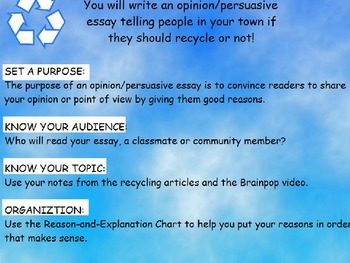 Common Core Performance Task for Opinion Writing