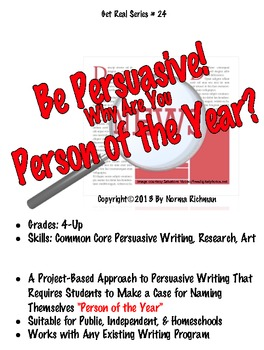 "Common Core Persuasive Writing! FUN! ""Person of the Year"" Project-based w/ art"