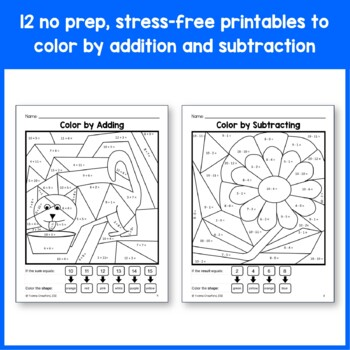 Color by number addition worksheets 1st grade