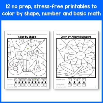 color by number kindergarten color by number addition subtraction and shapes. Black Bedroom Furniture Sets. Home Design Ideas