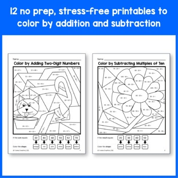 color by number second grade color by addition and subtraction