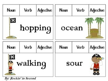 Common Core Pirates Parts of Speech Answer & Clip Task Cards