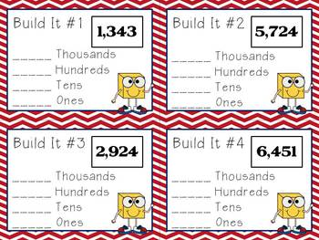 Common Core - Place Value Build It Cards Complete Pack From Tens to Thousands