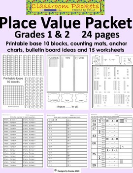 Common Core Place Value Math Packet for 1st and 2nd