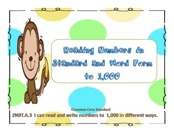 Common Core Place Value Monkeys(to 1,000)Center