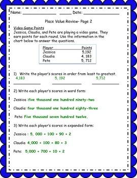 Common Core Place Value Quiz/Review Worksheet
