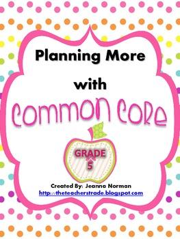 Common Core Planning Checklists (Fifth Grade)