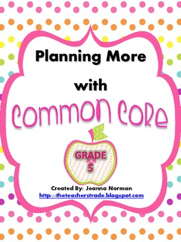Common Core Planning Checklists (Fifth Grade)