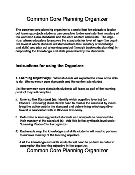 Common Core Planning Organizer