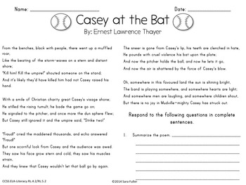 Common Core Poetry Practice Grades 4-5: Casey at the Bat