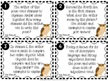 Common Core Poetry Task Cards-Grades 3-5- Analyzing Poetry Center