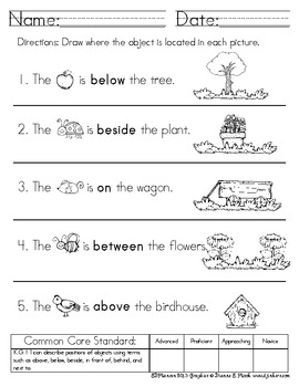 Common Core Positional Words in Math