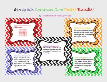 Common Core Poster Set 6th grade ELA--Chevron pattern
