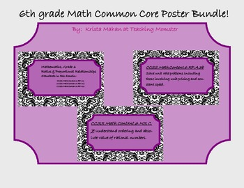 Common Core Poster Set 6th grade Math--Black and White pattern