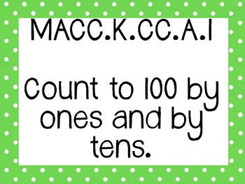 Kinder Common Core Math Posters Green