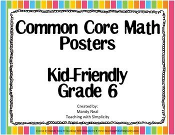 Common Core Posters - 6th Grade Math