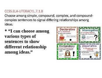 Common Core Posters 7th Grade ELA Literacy Standards