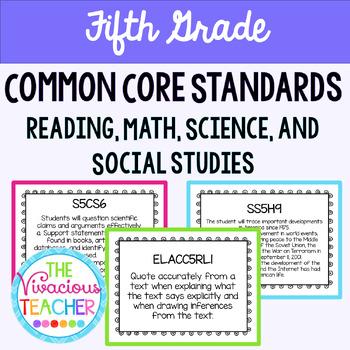 Common Core Posters Bundle Fifth Grade Reading, Math, Science, Social Studies