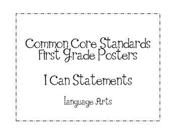 First Grade Common Core ELA Standards Posters-Plain