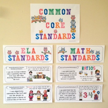 Common Core Posters - I Can Statements Math & ELA (6th Grade) - Half Page Size