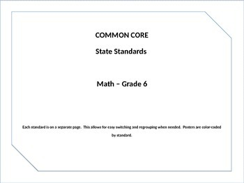 Common Core Posters Math Grade 6